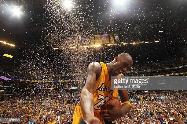 c0782ff30ba Kobe Bryant of the Los Angeles Lakers celebrates after winning over the  Boston Celtics in Game Seven of the 2010 NBA Finals on June 17 2010 at.