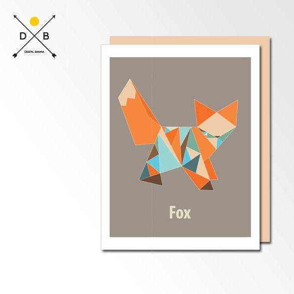 Nursery Art Origami Fox Printable Art Playroom by DigitalBanana, $5.00