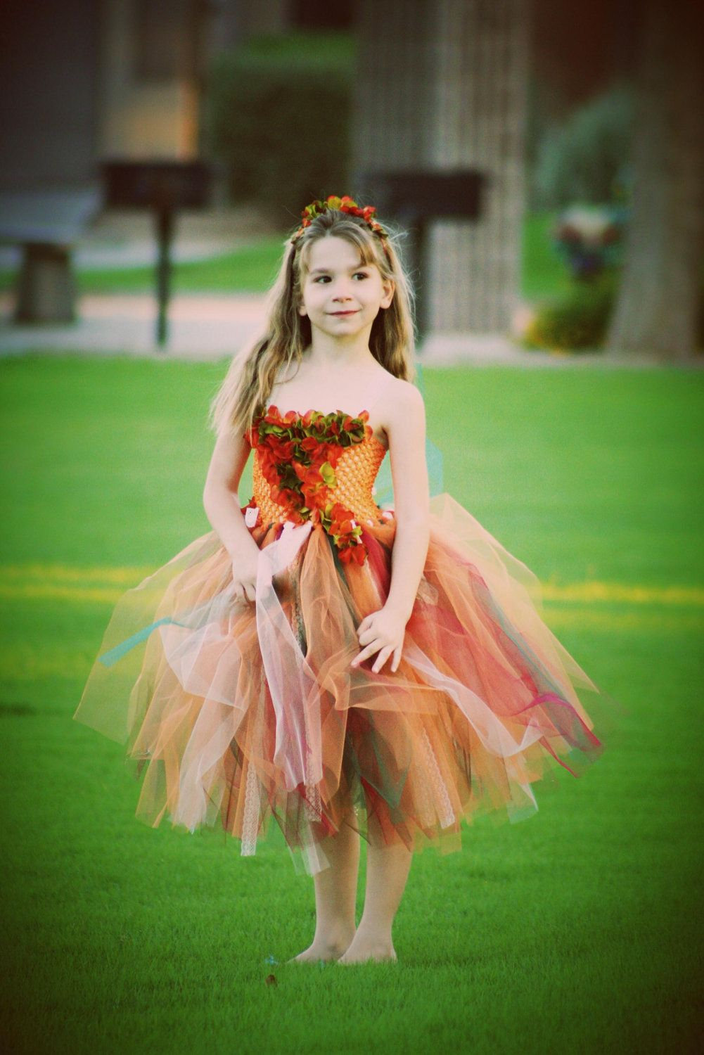 """The """"Autumn breeze"""" fall  tutu dress great for flower girls, fall pictures, weddings,thanksgiving, photograpy prop. $69.00, via Etsy."""