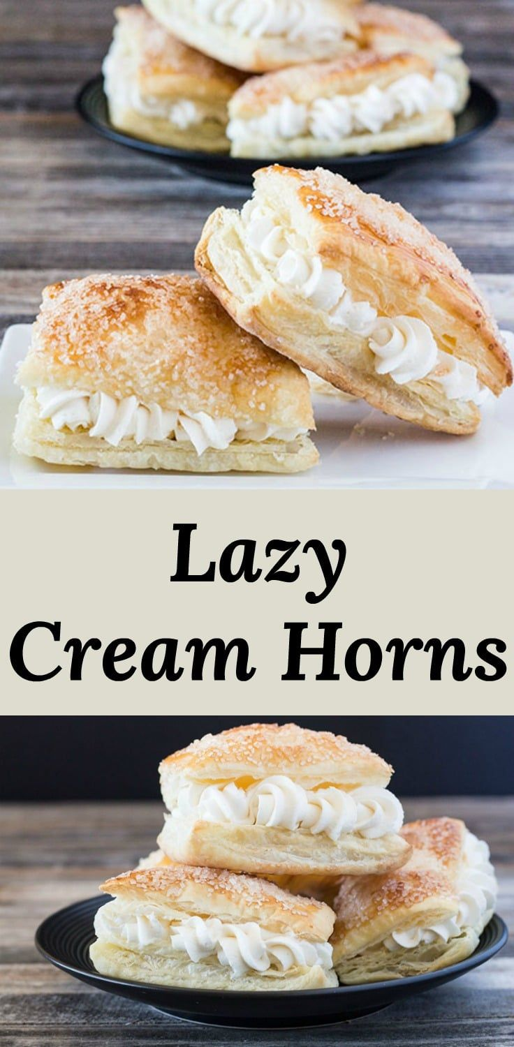 Lazy Cream Horns - All the cream horn flavor without all the work!  Puff pastry filled with cream horn filling. #recipes via @peartreechefs #creamhorns