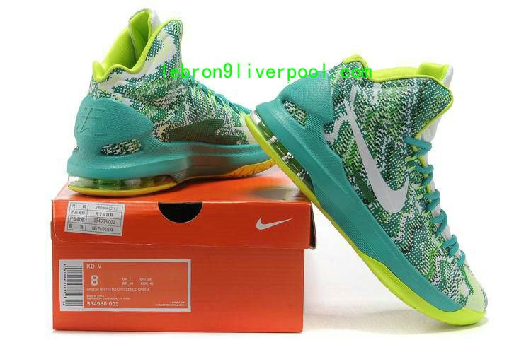 d80227c39e37 New Arrival Nike Zoom KD V Battle shoes Women Graphic Pattern White Gorge  Green New Arrivals. kobe 8 basketball shoes for sale