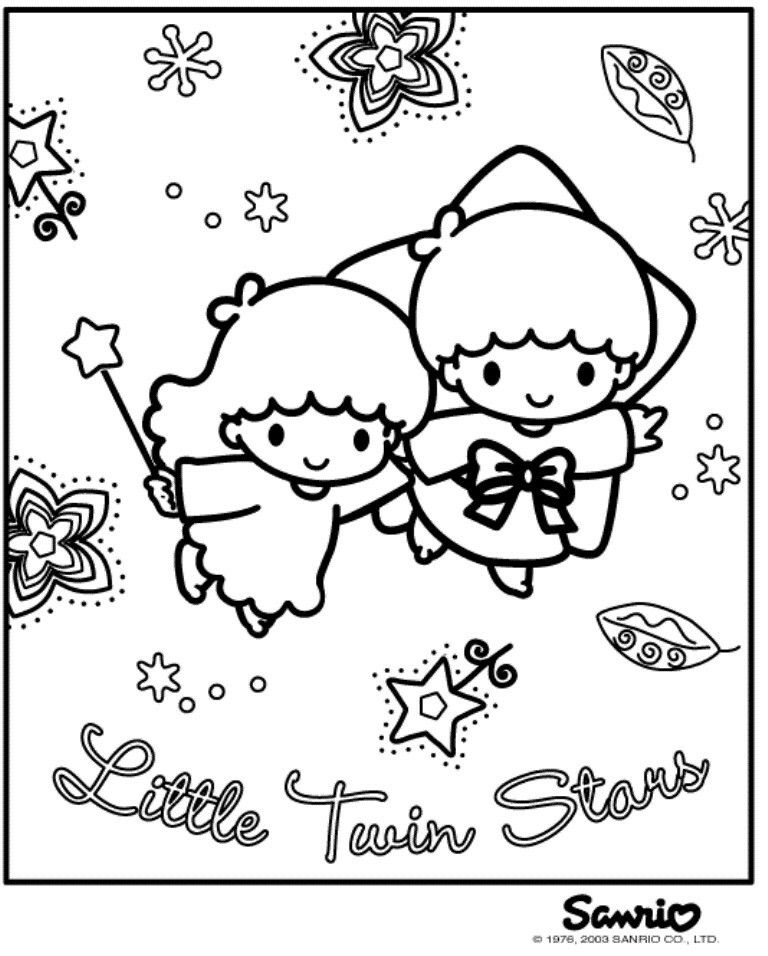 Little Twin Stars Little Twin Stars Star Coloring Pages Hello Kitty Coloring