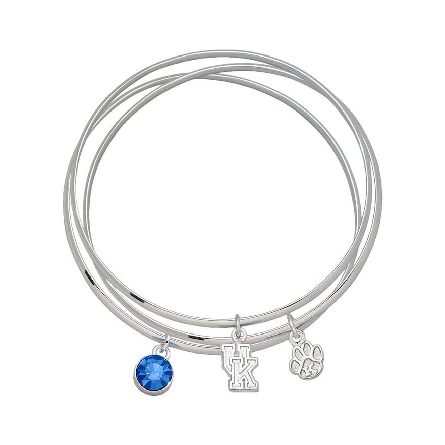 5af49e7718c4b LogoArt Kentucky Wildcats Silver Tone Crystal Charm Bangle Bracelet ...