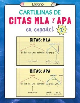 Spanish Apa And Mla Citation Posters Set Of 2 Classroom