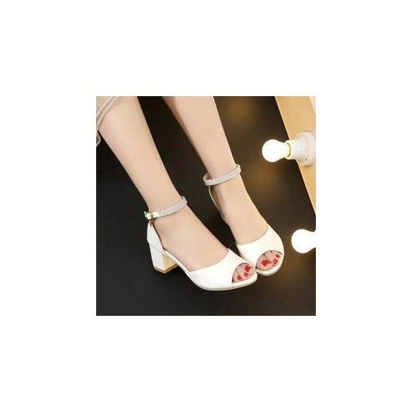 Rhinestone Block Heel Sandals ($36) ❤ liked on Polyvore