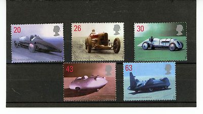 GB STAMP MINT NH QE 11 1998 BRITISH LAND SPEED RECORD HOLDERS SG 2059 - 2063