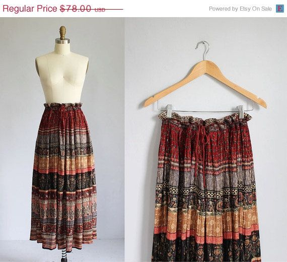 ON SALE vintage Indian cotton long striped colorful metallic thread skirt on Etsy, $58.50