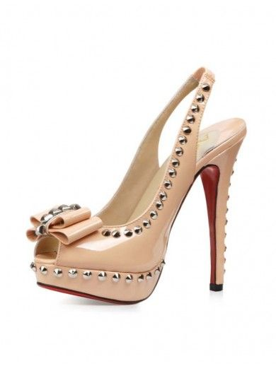 52b42a34a38 Heel Height Champagne Patent Leather Bowknot Rivets Decoration Red ...