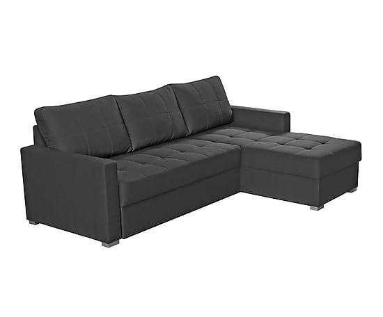 Sofá cama chaise longue con canapé en símil piel Pi – antracita I
