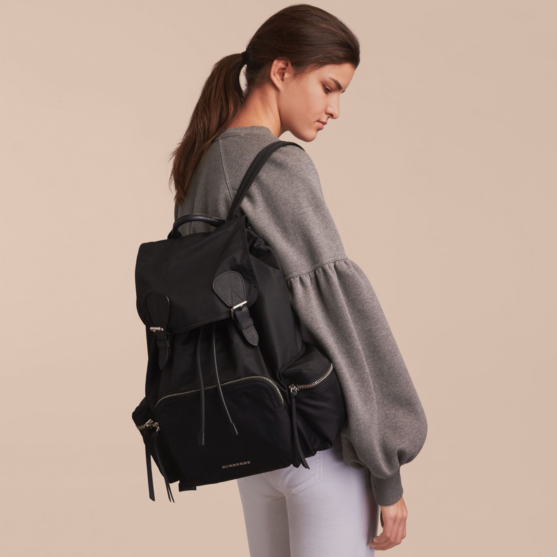 4d3ddcb59897 The Large Rucksack in Technical Nylon and Leather in Black - Women ...