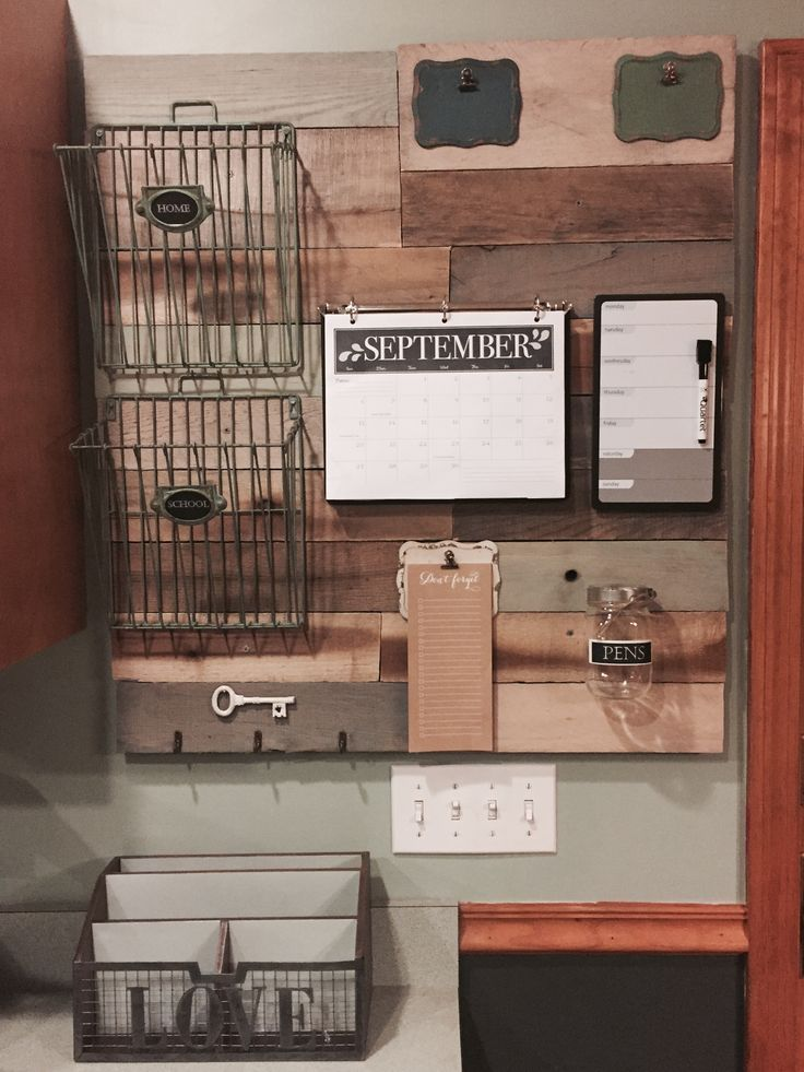 Family Command Center Made From Reclaimed Wood Pallets! Kitchen Calendar  OrganizationFamily ...