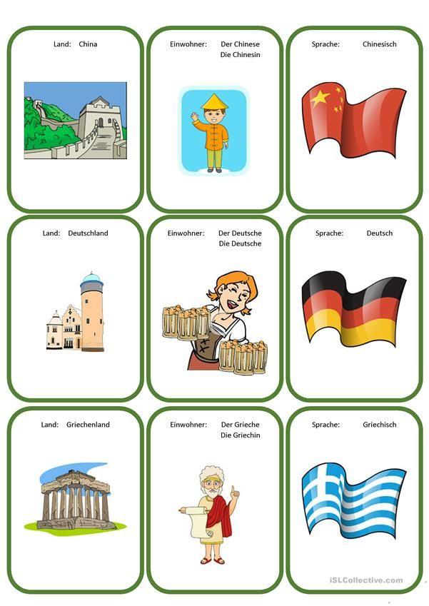 Kartenspiel: Land, Nationalität, Sprache | Hallo, Kinder, wir ...