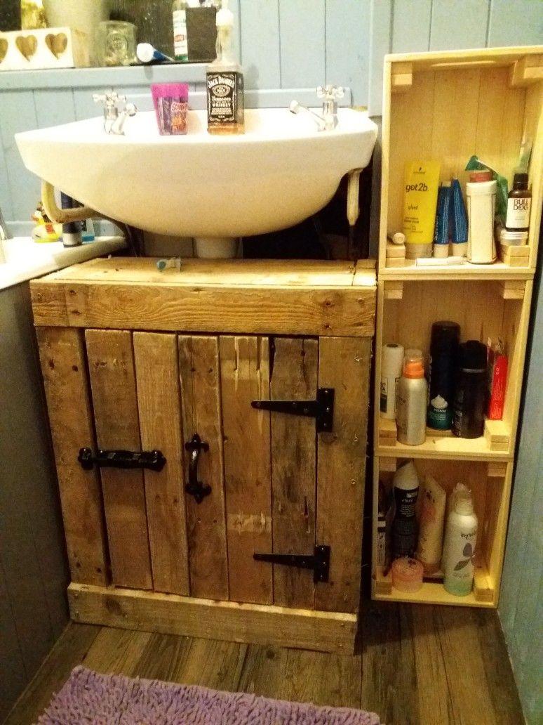 Reclaimed pallet wood under sink cabinet   Under sink ...