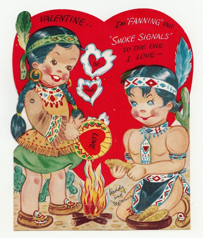 Vintage Greeting Card Valentine Mechanical Native American Indian A