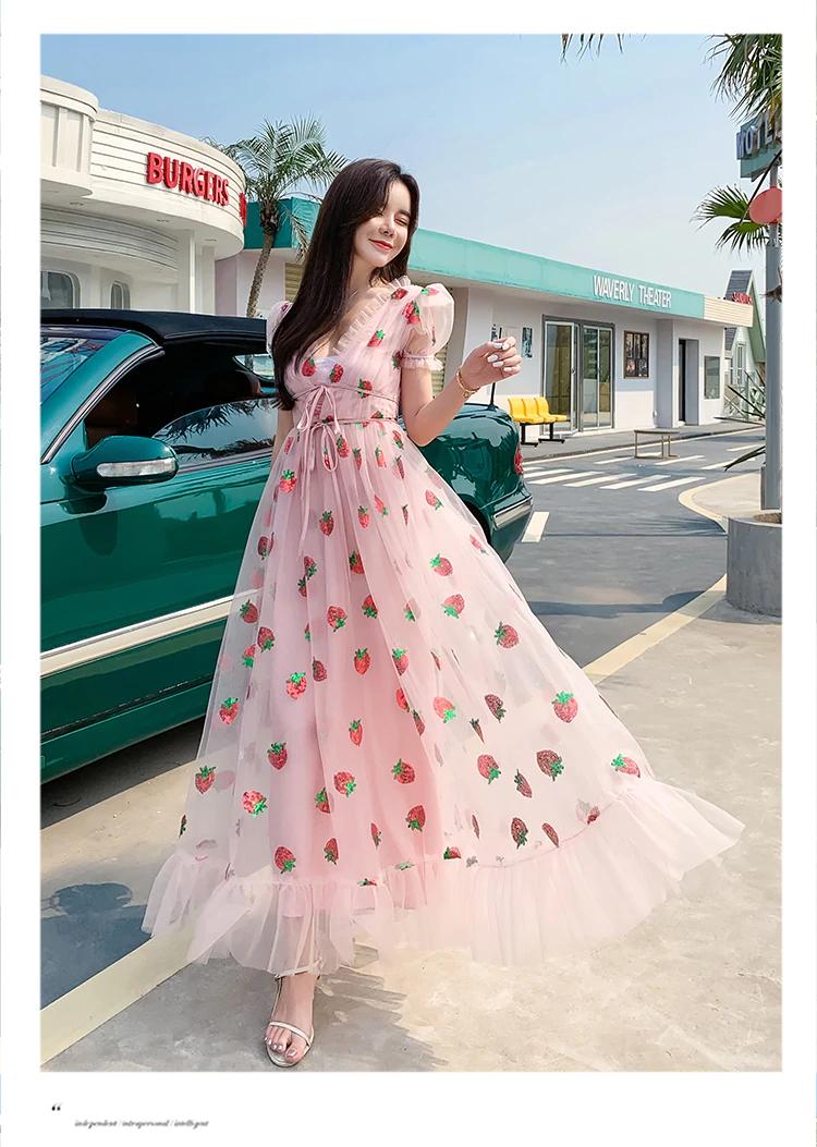 Summer Strawberry Sequined Embroidery Cascading Ruffle Sweet Maxi Dress Women V Neck Puff Sleeve Bow Tulle Womens Maxi Dresses Summer Dresses For Women Dresses [ 1053 x 750 Pixel ]