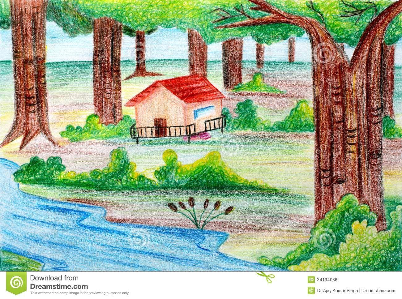Landscape Drawings Pencil For Kids Landscape Drawings Easy Nature Drawings Landscape Pencil Drawings