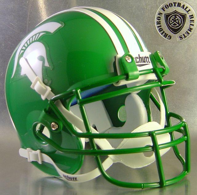 Michigan State Spartans 1977 Kelly Green Schutt Xp Football Helmets Mini Football Helmet Football