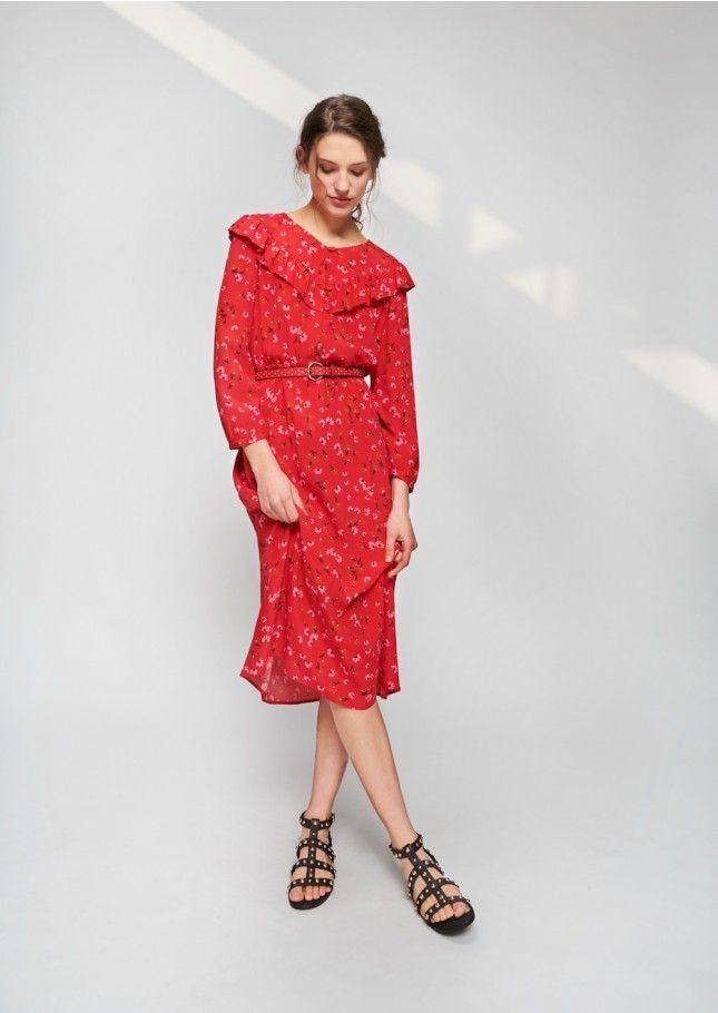 Robe Tara Jarmon 1 Rouge Midi Femme Marguerites Imprimé 8fqaC8