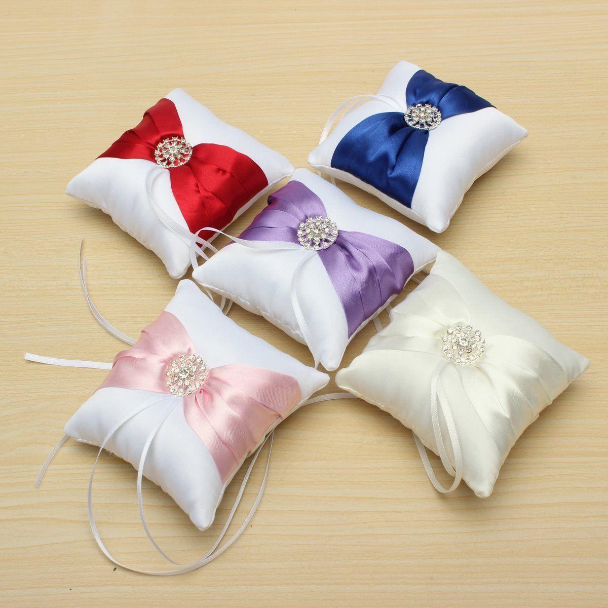 Satin And Crystals Wedding Ring Pillow