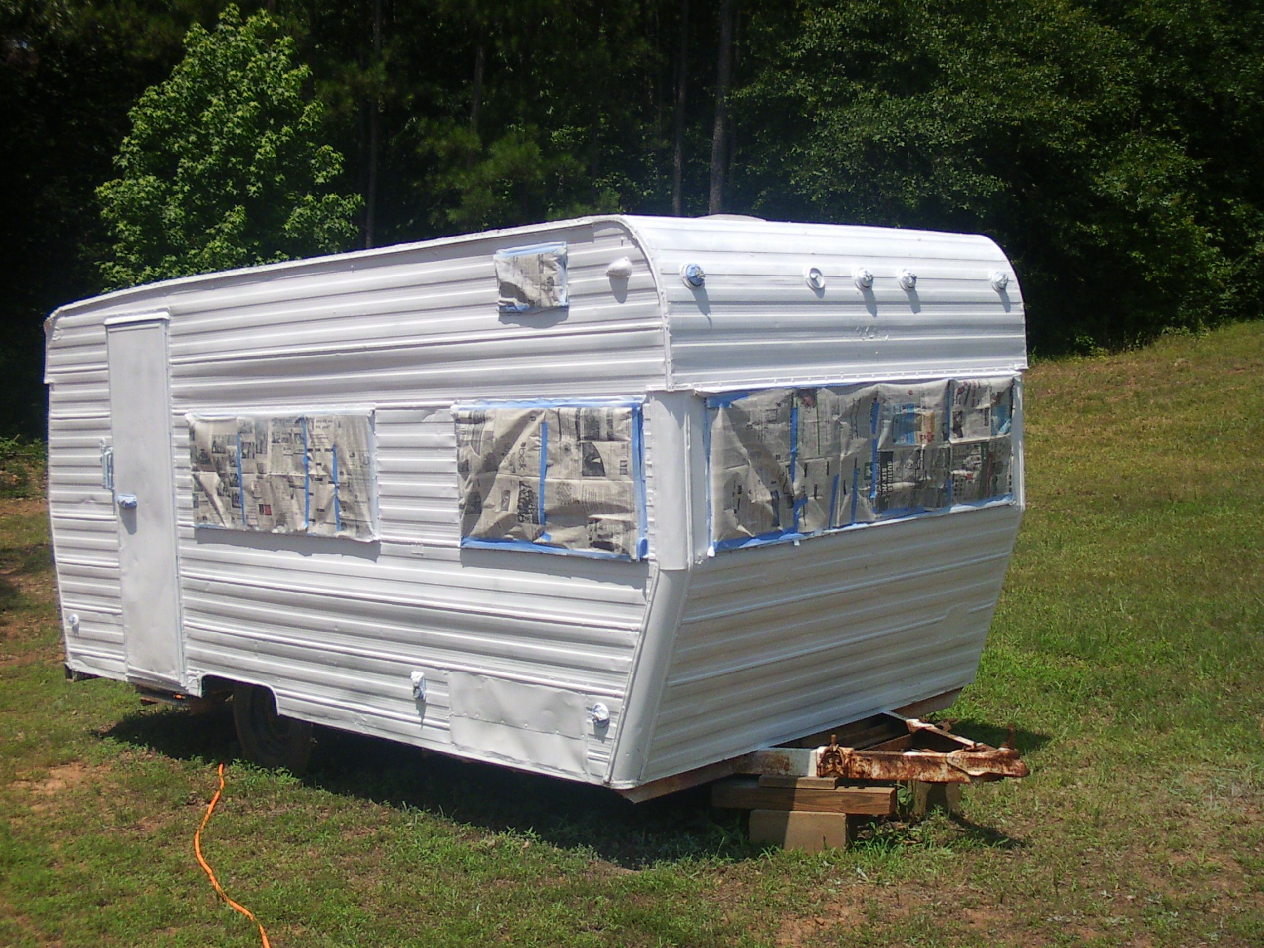 70s Terry Travel Trailer Remodel Old 1970s Total Inside And Out Gutted Put Up New Paneling Outside Painted