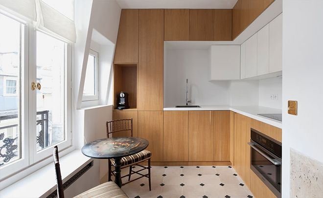 White & wood kitchen - Paris Apartment Rental One Bedroom