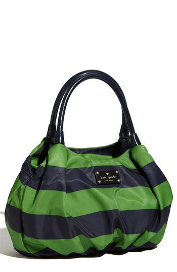 blue and green striped handbag