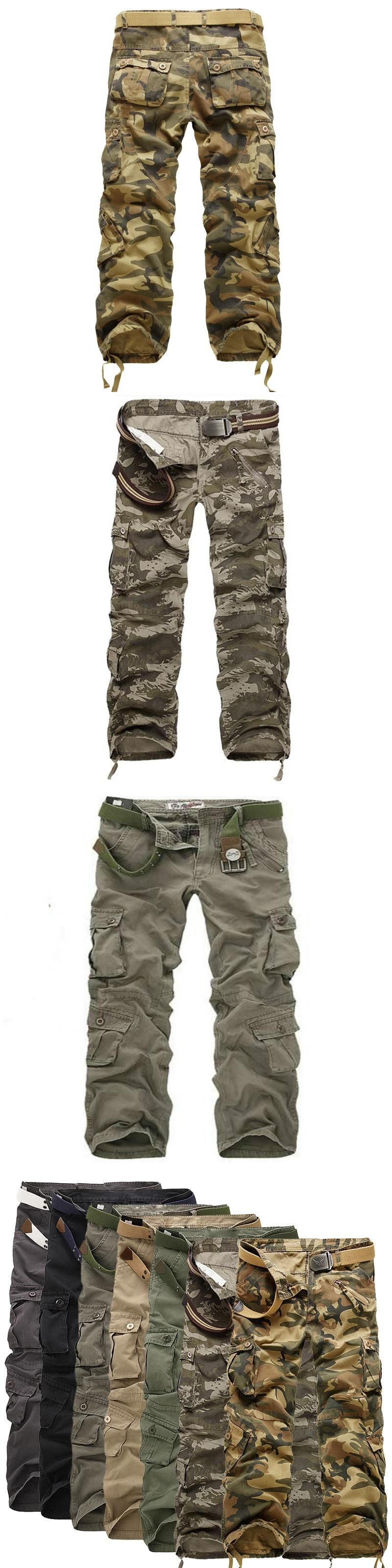 3cc8ba52ca12 Top Men Loose Multi-Pocket Camouflage Pants Men s Casual Cotton Straight  Big Yards Long Frock