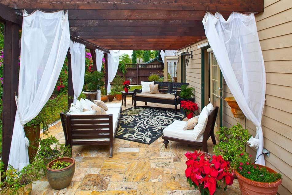 amnagement terrasse de styles et inspirations diffrents pour raliser un vrai coin de dtente - Voilage Exterieur Pour Terrasse