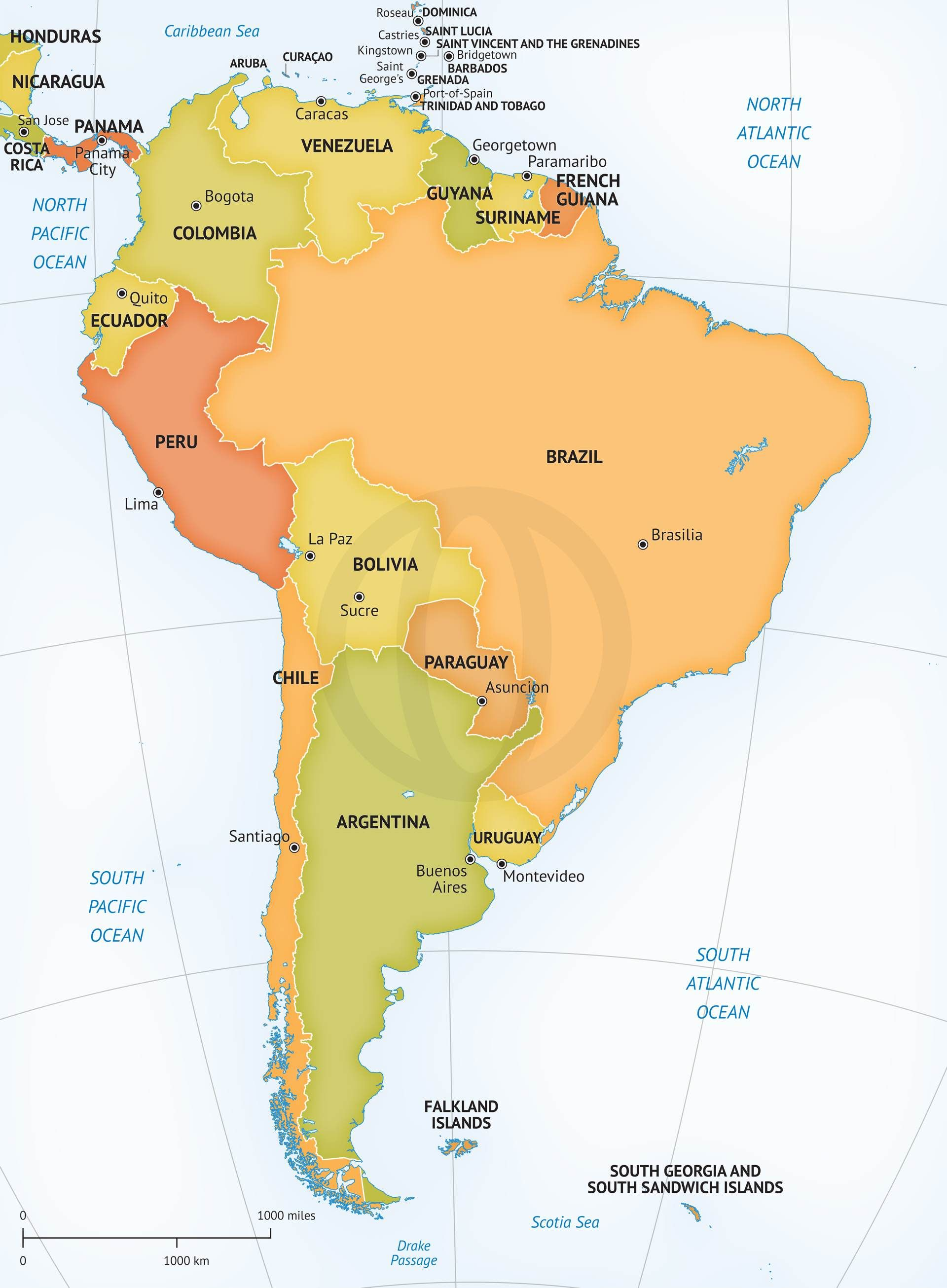 Vector Map of South America Political South america and South