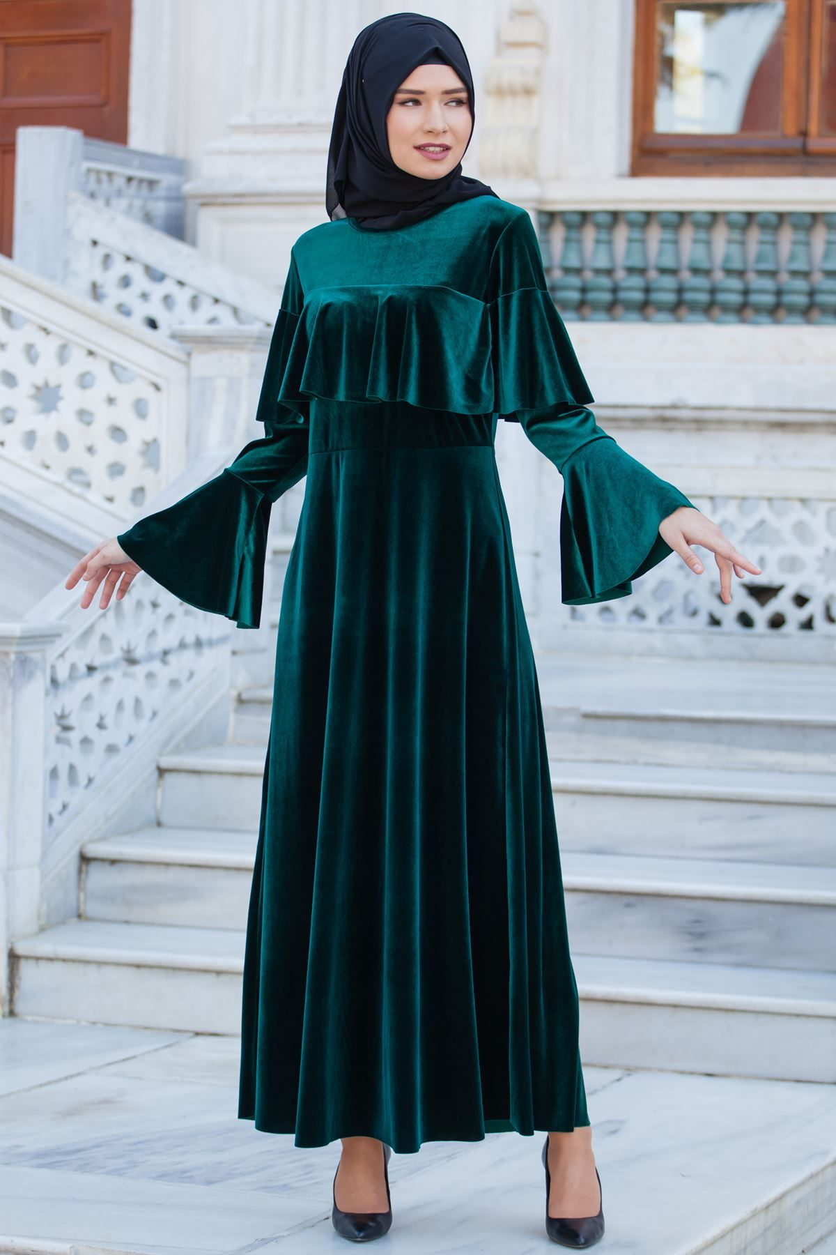 3fdc49fe7edff Sedanur Tesettür Volan Kol Kadife Elbise Modelleri - Moda Tesettür Giyim