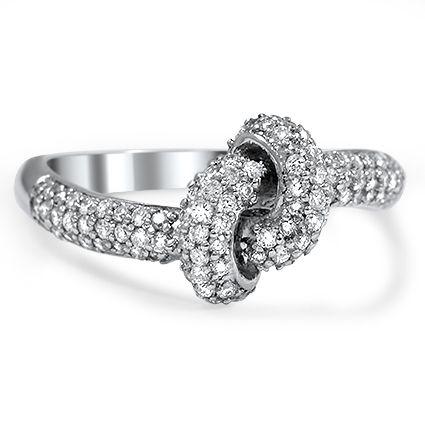 Pavé Love Knot Diamond Ring