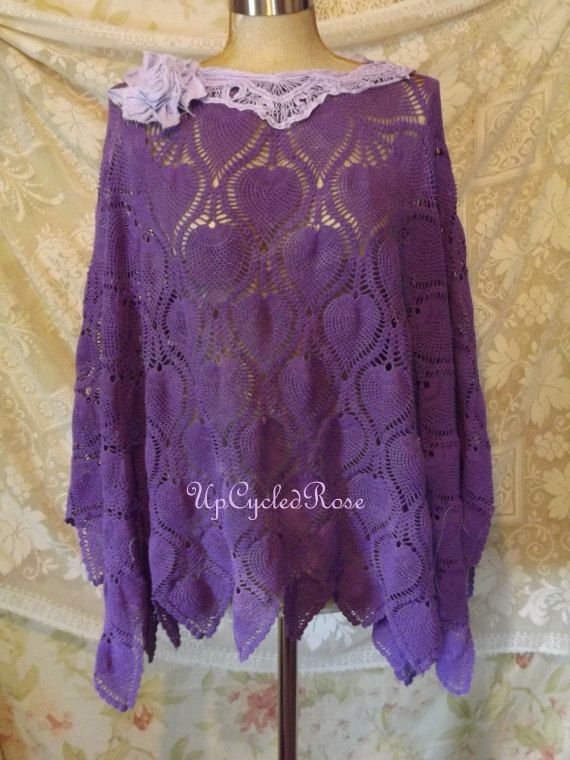 Upcycled Rose Loves Purple Ponchos Gypsy Chic by UpcycledRose, $87.50
