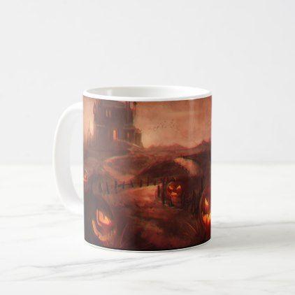 Halloween Jack-O-Lantern Pumpkins Spooky Castle Coffee Mug