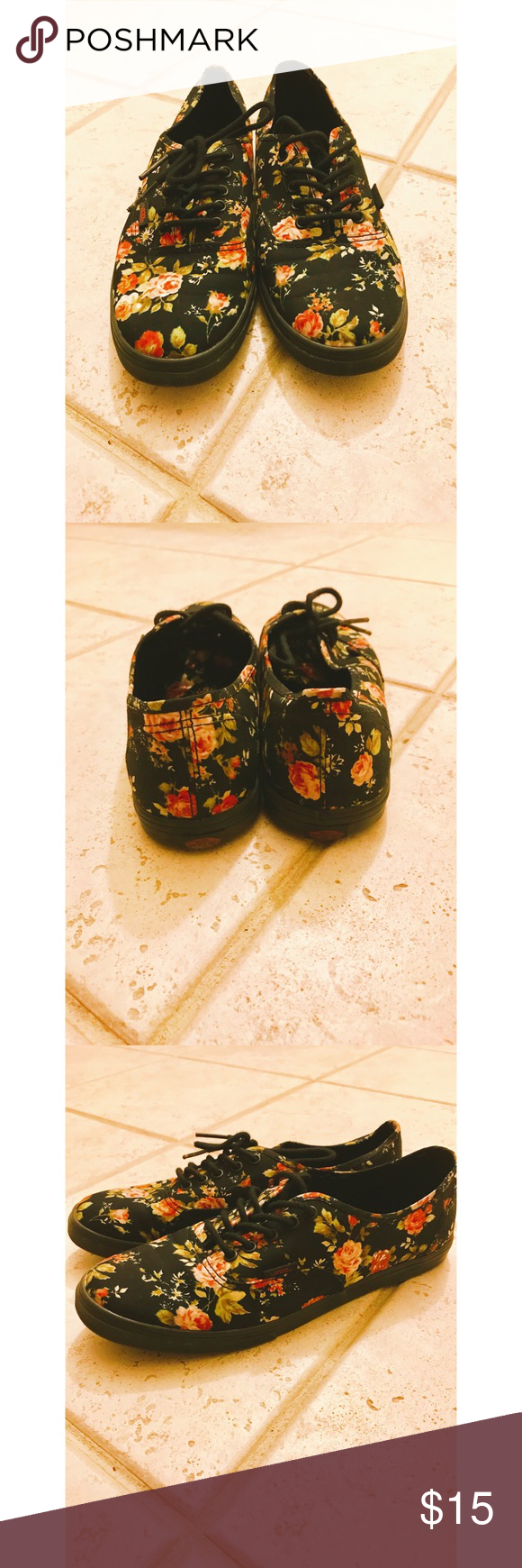VANS Floral Canvas Sneaker Size 9.5 Brand: Vans. Color: Black Floral. Size: 9.5 Women's/ 8 Men's. Condition: Used. Material: Canvas, easy to clean. Normal wear dents due to walking. Item is true to size. Item does not come with box and will be cleaned best to ability. Any questions please ask. Vans Shoes Sneakers