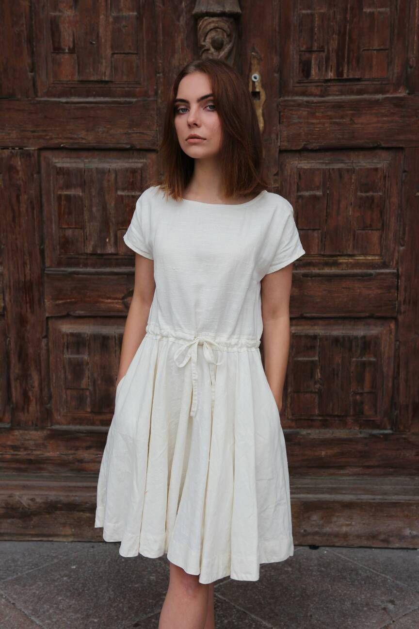 White Linen Summer Dress With Open Back And Full Skirt With Pockets Sleeveless Sundress For Women White Linen Dress Summer Summer Dresses Fashion [ 1296 x 864 Pixel ]