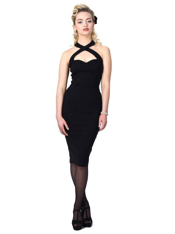 Vintage Style Black Halterneck Pencilwiggle Dress by