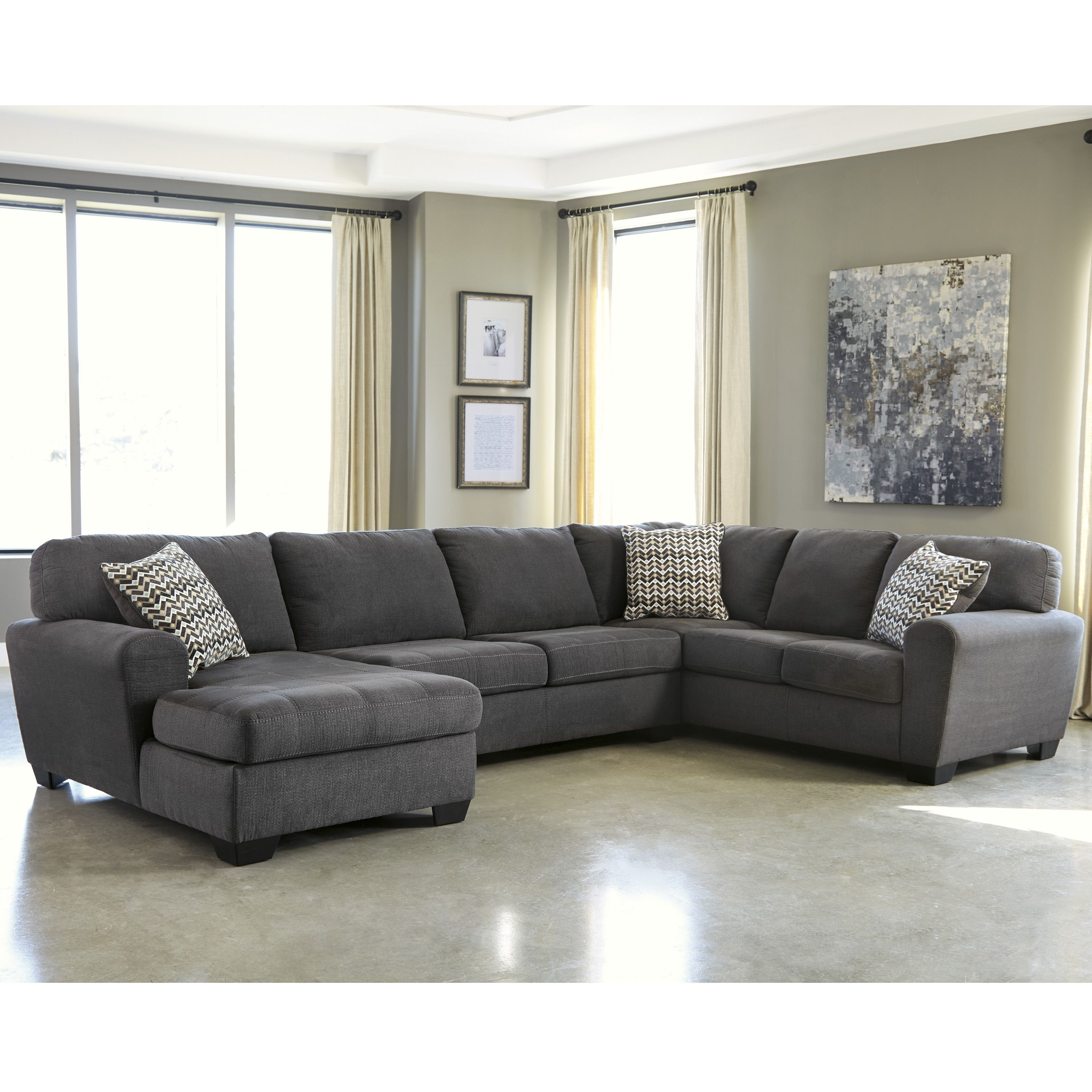 sofa ashley arms sectional with cupboard furniture benchcraft