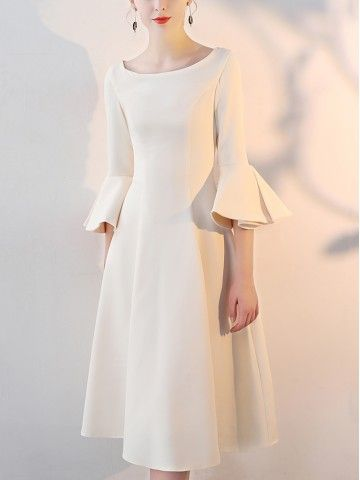 Champagne Midi Dress With Flared Sleeves