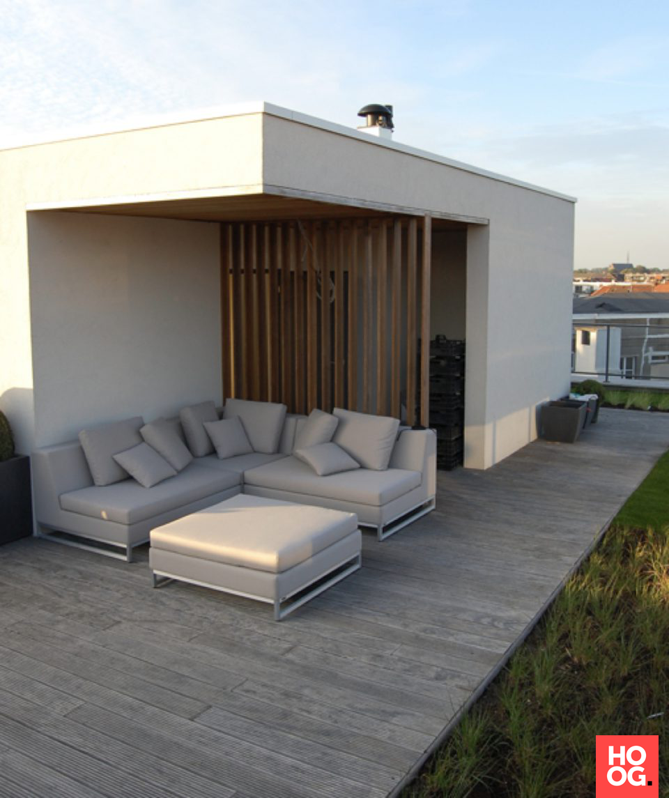 Luxe dakterras met design loungebank | veranda ideas outdoor ...