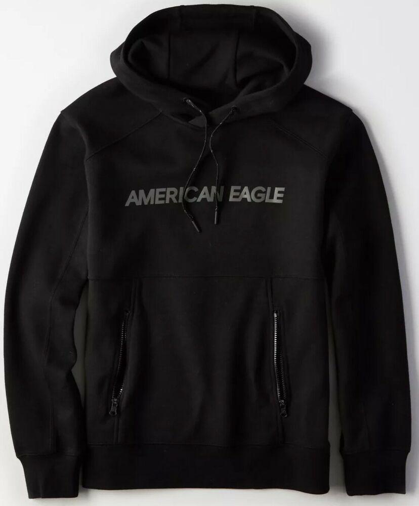 American Eagle AE Mens Active Sport Full Zip Hoodie Jacket Blue NWT