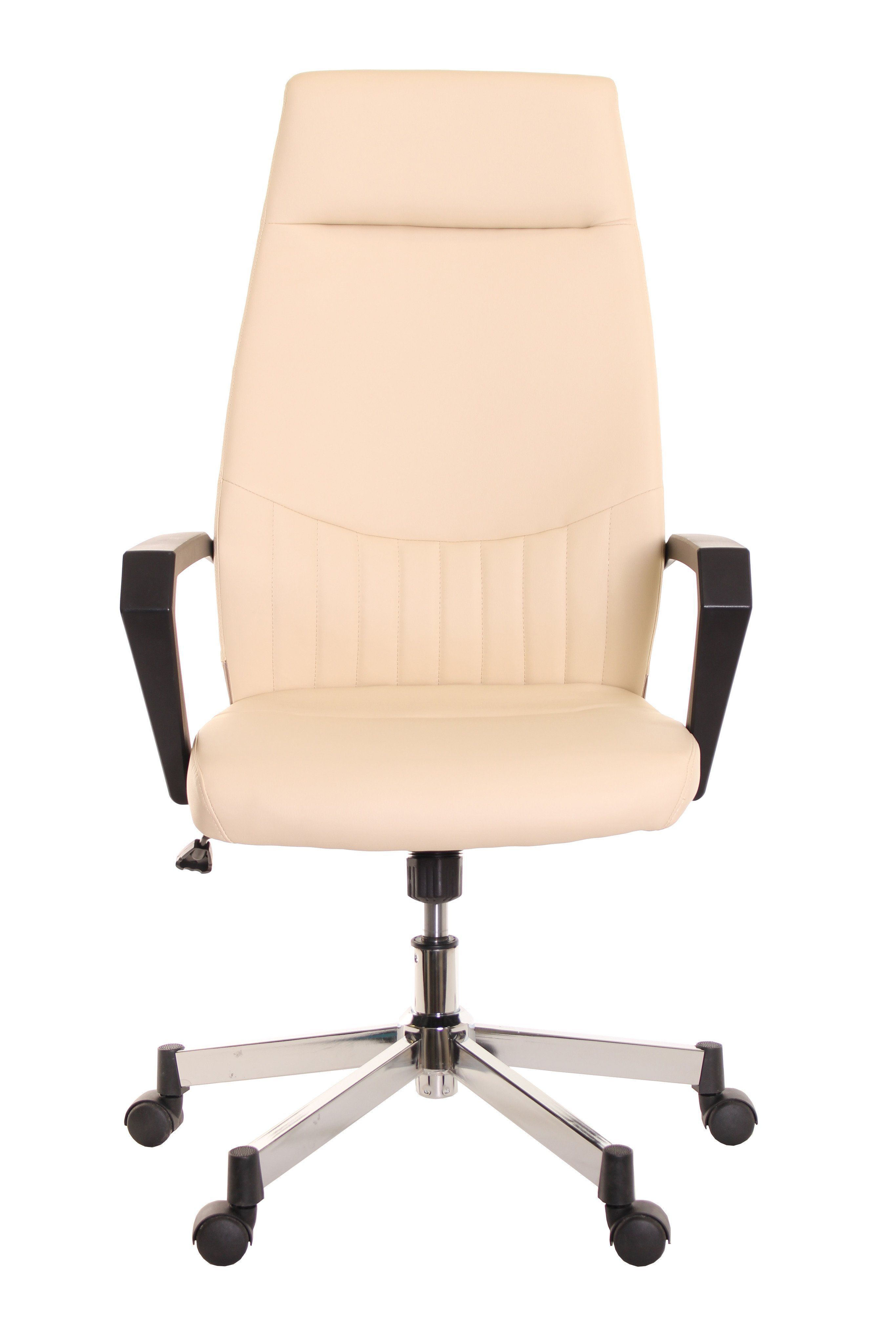High Back Leather Task Chair Ergonomic Ivory By TimeOffice