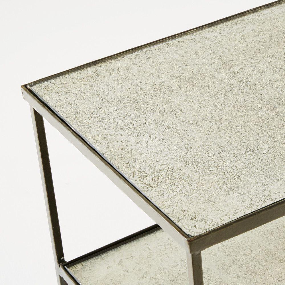 Side Table Van Glas.Sidetable Van Grijs Staal En Gehard Glas Interieur Iron