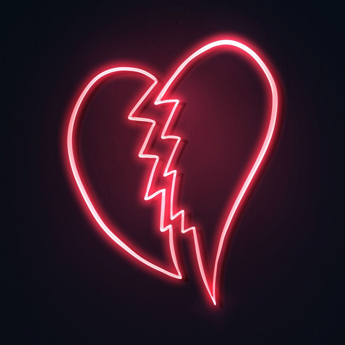 Download premium illustration of Neon red broken heart
