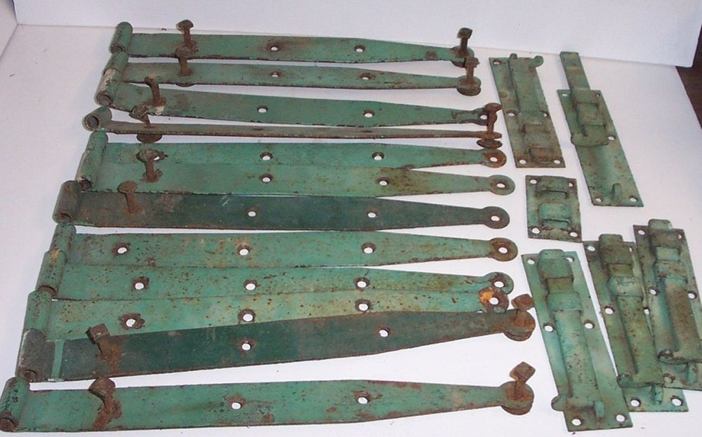 Lot of 12 Barn Door Hinges Antique Hardware Latch Vintage 14
