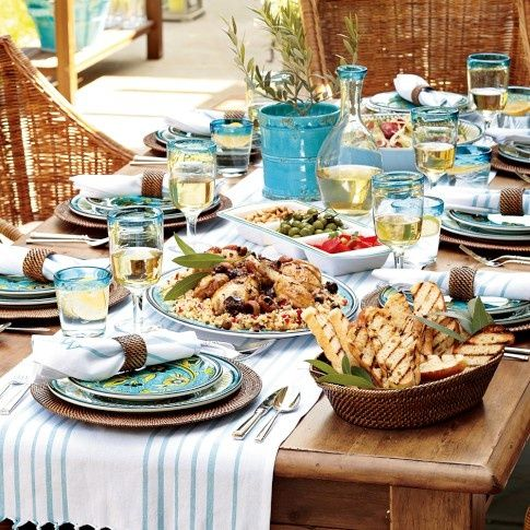 Superbe Blues/turquoises And Neutral Colours Work Wonders On A Mediterranean Table