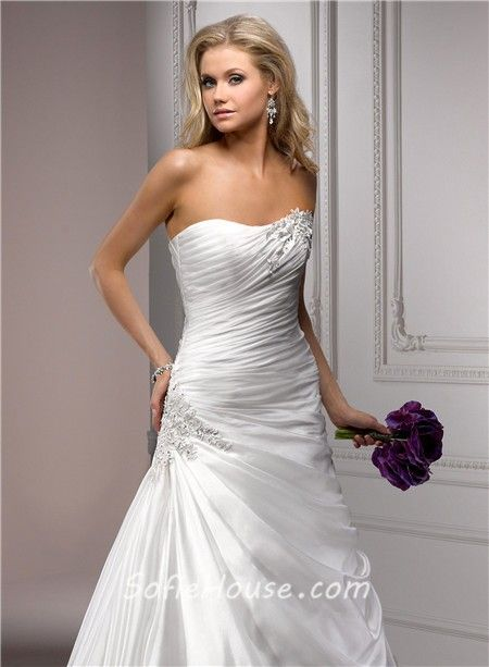 A Line Wedding Dresses with Ruching