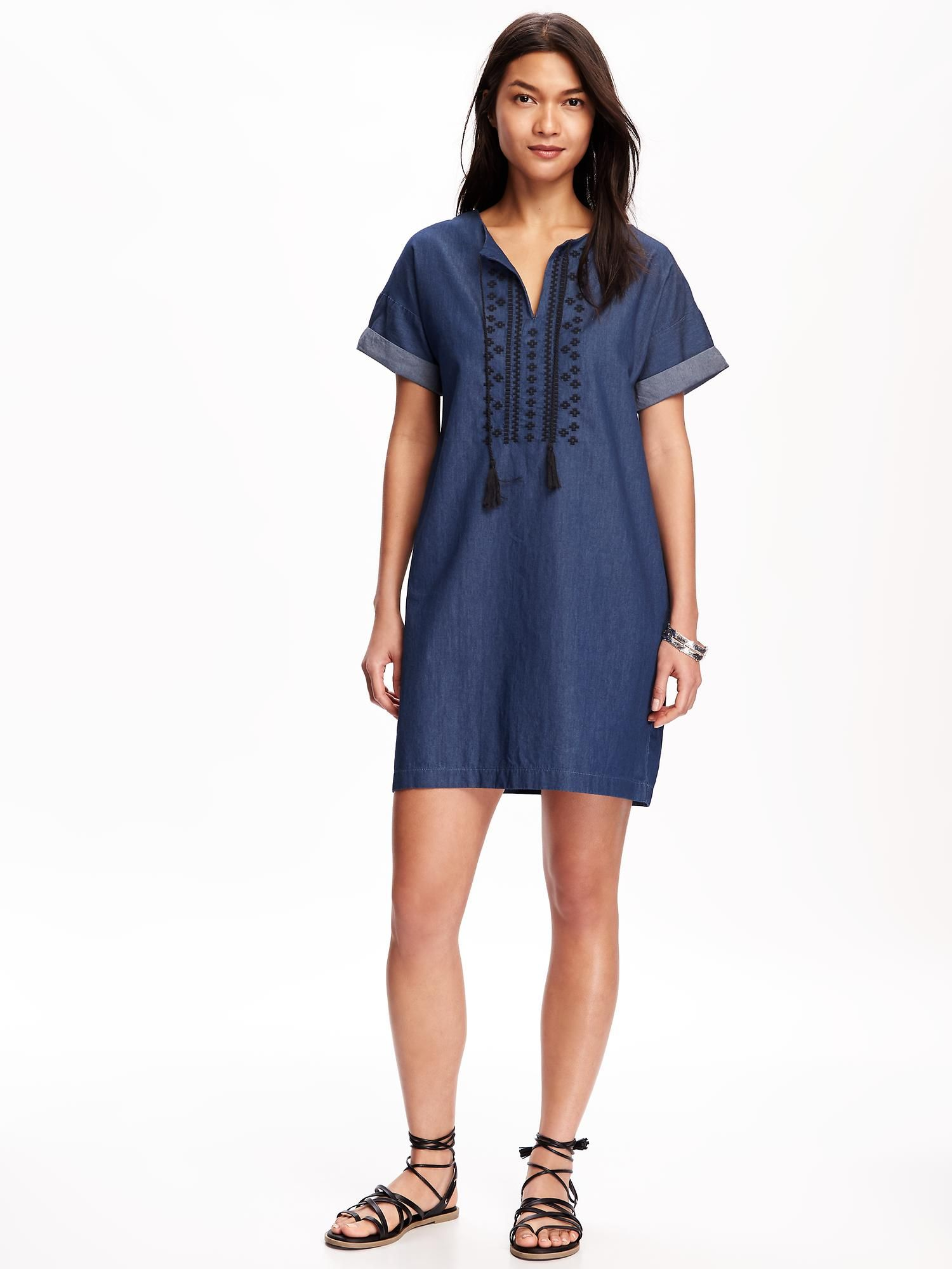 Embroidered-Front Chambray Shift Dress for Women | Old Navy ...
