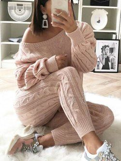 Casual Knit Suit Oversize Knit Round Neck Jumper And Knitted Trousers 2pc Set Spring Knitted Pantsuit Women/'s Cotton Knit Lounge In Blue