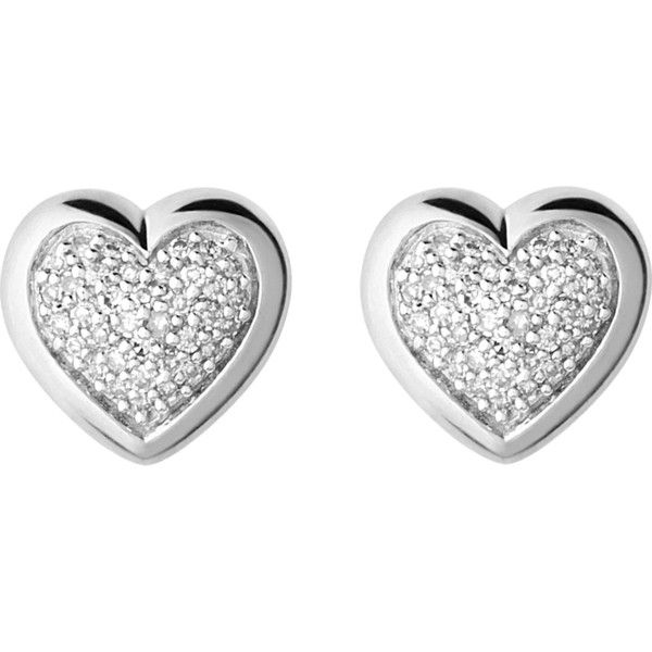 LINKS OF LONDON Diamond essentials silver and diamond heart stud... (3.635 ARS) ❤ liked on Polyvore featuring jewelry, earrings, accessories, pave diamond earrings, diamond earrings, diamond stud earrings, diamond heart earrings and heart stud earrings