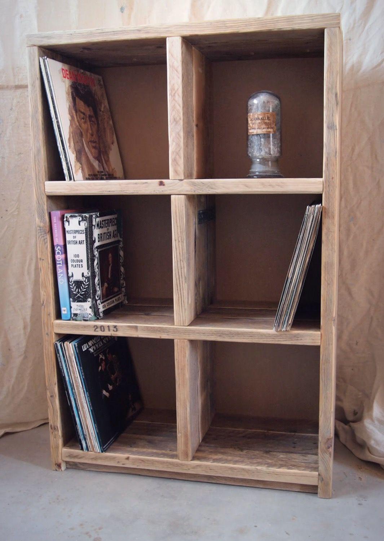 Reclaimed wood vinyl storage unit/bookcase & Reclaimed wood vinyl storage unit/bookcase | The Furniture Fox ...